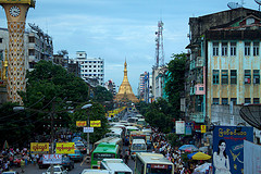 Sule Paya rising in the city